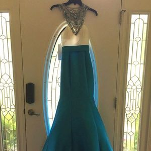 Rachel Allan ocean blue sequined prom/formal dress